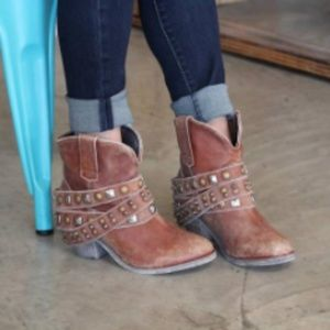 Free People Coral Studded Strap Ankle Boots